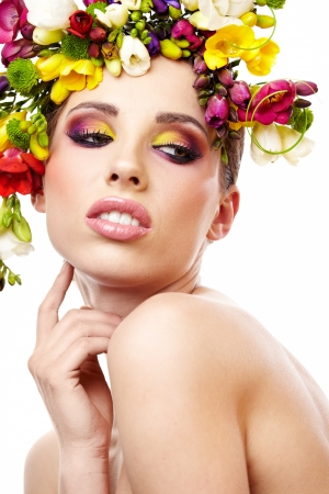pink lips: Woman with hairstyle and freesia flower  Isolated
