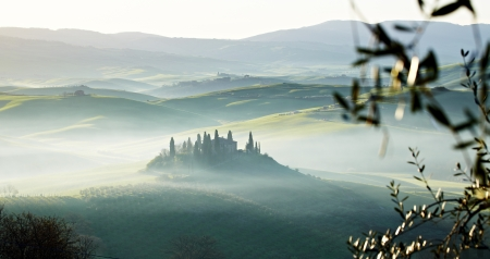 san quirico: morning on countryside, San Quirico d´Orcia, Tuscany, Italy