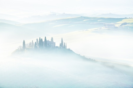 podere: morning on countryside, San Quirico d´Orcia, Tuscany, Italy