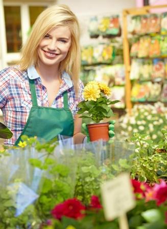 garden center: Woman working in garden center