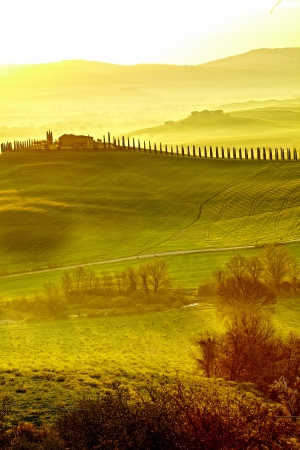 agriturismo: Countryside, San Quirico d Orcia , Tuscany, Italy  Stock Photo