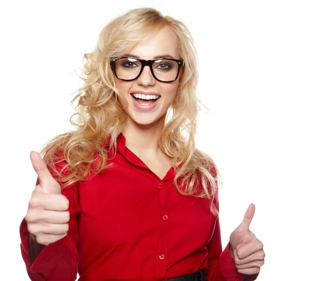 Happy smiling business woman with ok hand sign  Stock Photo - 19704296