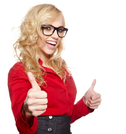 Happy smiling business woman with ok hand sign  Stock Photo - 19704294