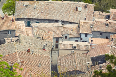 montalcino: Aerial view background on italian medieval architecture roofs city building  Tuscany, Italy
