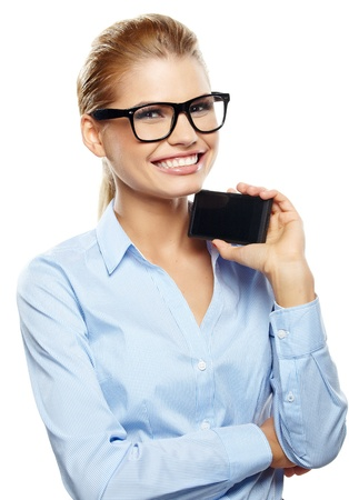 Happy smiling successful businesswoman with cell phone.  photo