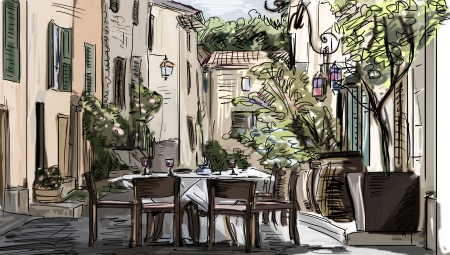 European city street color  illustration illustration