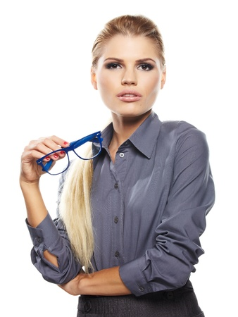 Cute young business woman with glasses  photo
