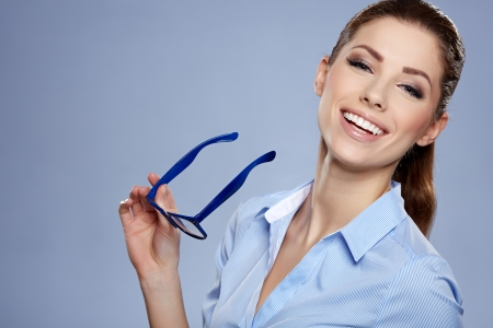 sexy young girls: Cute young business woman with glasses  Stock Photo