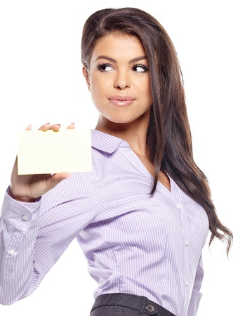 Woman showing blank sign excited, Young casual professional  showing empty card sign  Stock Photo - 20814850