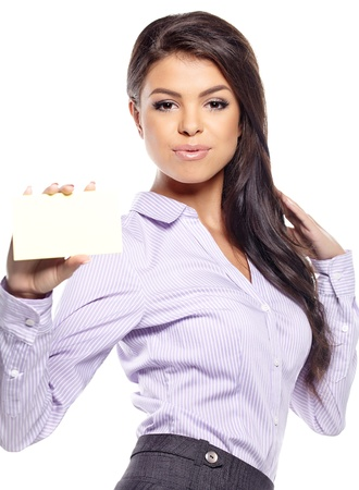 cash card: Woman showing blank sign excited, Young casual professional  showing empty card sign