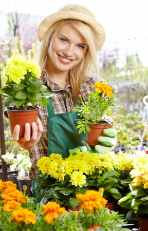 Florists woman working with flowers at a greenhouse Stock Photo - 20864608