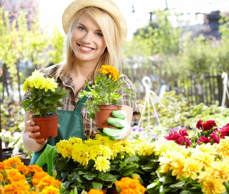 Florists woman working with flowers at a greenhouse  photo