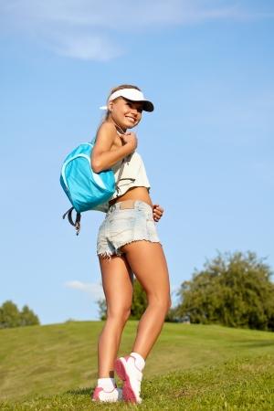 rambling: Backpacker - Outdoor Recreation  Stock Photo