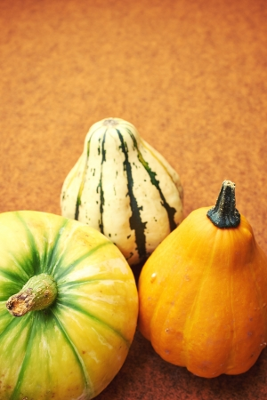 Decorative pumpkin isolated on brown background. Halloween and harvest symbol.  photo