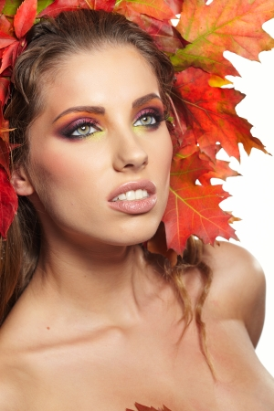 Autumn Woman  Beautiful makeup  photo