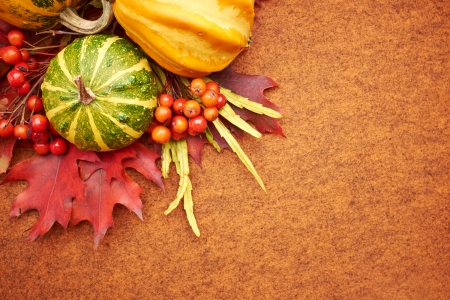 Pumpkins with fall leaves with seasonal  Stock Photo