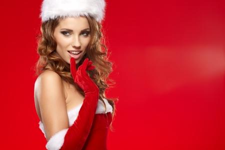 sexy santa: beautiful sexy girl wearing santa claus clothes