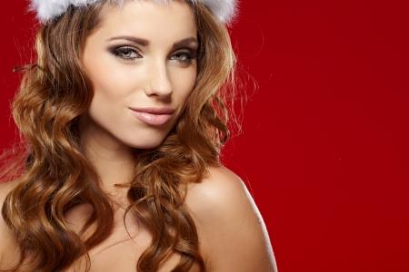 beautiful sexy girl wearing santa claus clothes Stock Photo - 22644461