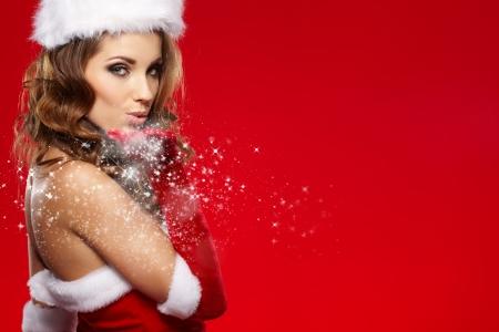 santa: beautiful sexy girl wearing santa claus clothes