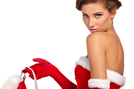 Vintage sexy girl wearing santa claus clothes  photo