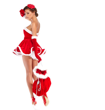 sexy: beautiful sexy girl wearing santa claus clothes