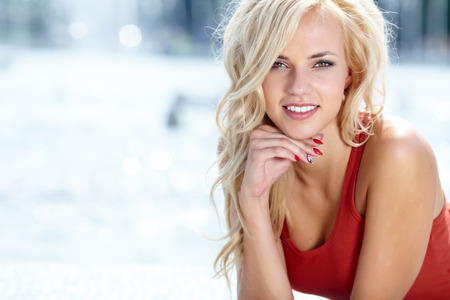 Beautiful blonde woman portrait photo