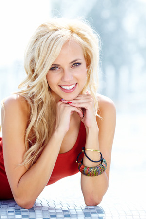 lovely girl: Beautiful blonde woman portrait