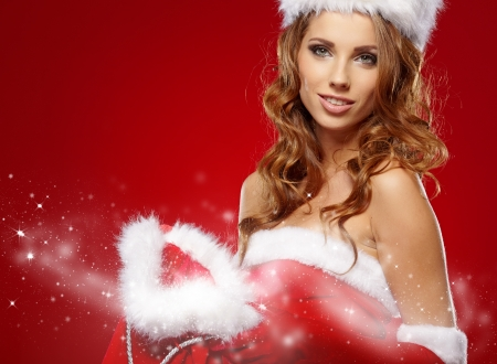 christmas woman on red background photo