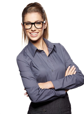Cute young business woman with glasses  Stock Photo
