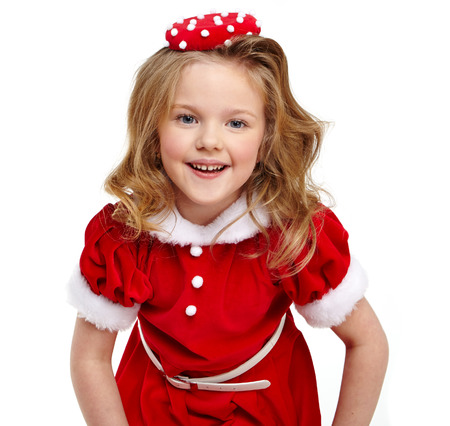 Cute bambina in costume di Babbo Natale photo