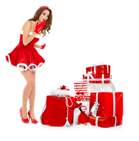 sexy girl: beautiful sexy girl wearing santa claus clothes