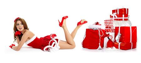 meuf sexy: belle fille sexy portant des v�tements de santa claus Banque d'images
