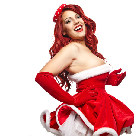 Pin-up christmas girl photo