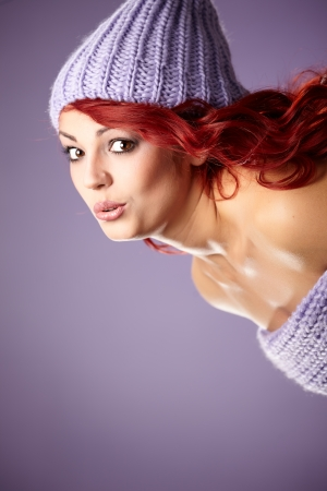 winter redhead woman portrait photo