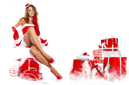 sexy santa: beautiful sexy girl wearing santa claus clothes