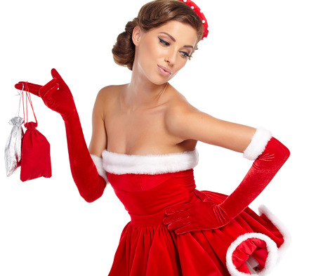 red gloves: beautiful sexy girl wearing santa claus clothes