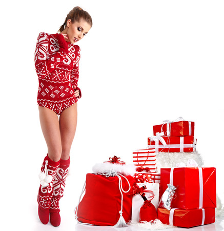 Happy woman in sexy winter clothes Stock Photo - 23772002
