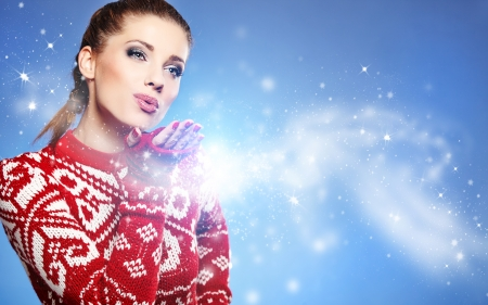 Christmas Girl Winter woman Blowing Snow  photo