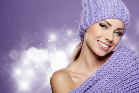beauty care: Beautiful winter woman in warm clothing  Stock Photo