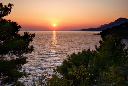sunset over sea - nice evening in croatia  photo