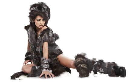 beautiful woman in barbarian costume photo