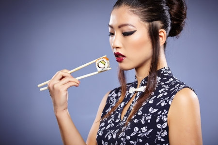model fish: Asian Sushi woman