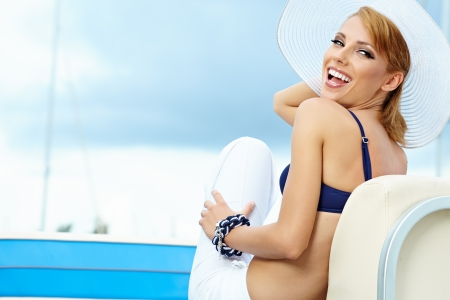 portrait of a beautiful woman on vacation  photo