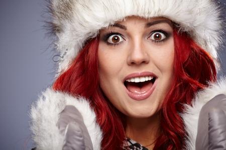 russian woman: beautiful red hair woman in warm clothing  Stock Photo