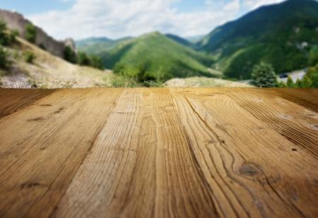 wood textured backgrounds on the tuscany landscape background Stock Photo - 25227876