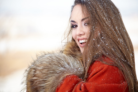 Beautiful woman portrait  in winter  photo