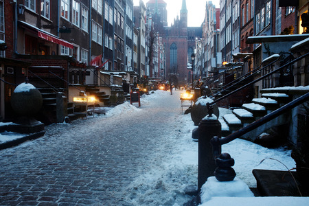 street lamps: old town in Gdansk, Poland  Stock Photo