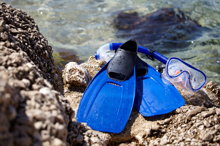 fin: mask, snorkel and fins for snorkeling at the beach
