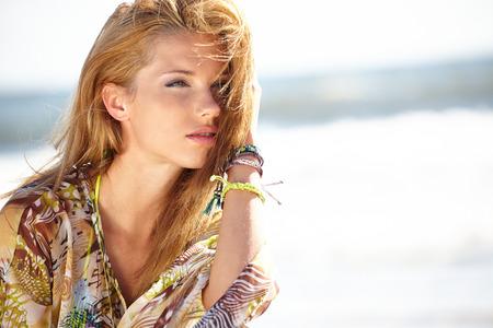 Happy Beautiful Woman Enjoying Summer Vacation  photo