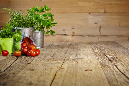 kitchen garden: Mint leaves on wooden table